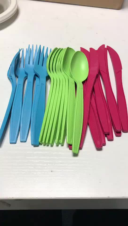 24PC Compostable Utensil Set Eco Friendly Cornstarch Fork Spoon and Knife Cutlery Durable and Heat Resistant Flatware Set