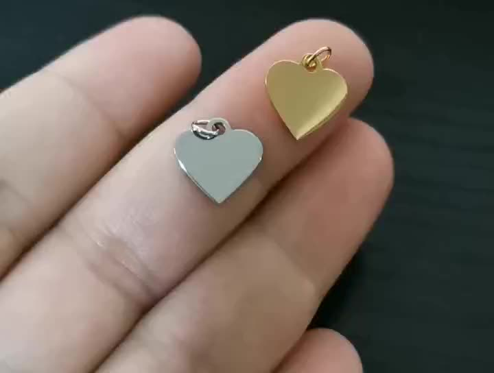 Custom  Accessories Stainless Steel Jewelry Personalized Engravable Gold jewelry Blanks Tags Heart Charm Pendant For Necklace
