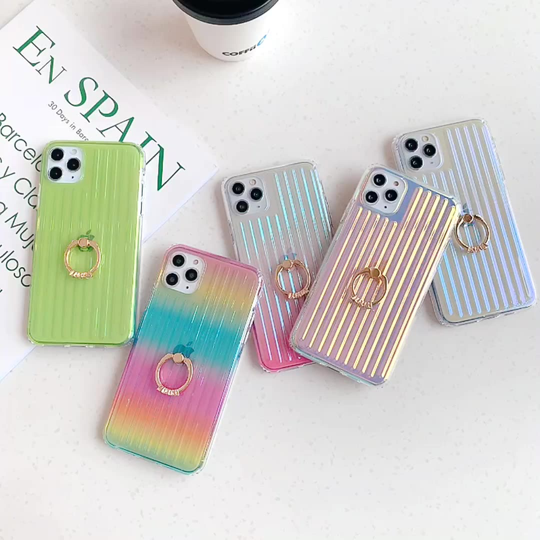 New 2020 Phone Cases for iPhone 11 Pro Fancy Fashion Clear 8 7 6s Plus Trunk Design Shockproof Girly Back Covers with Ring Stand