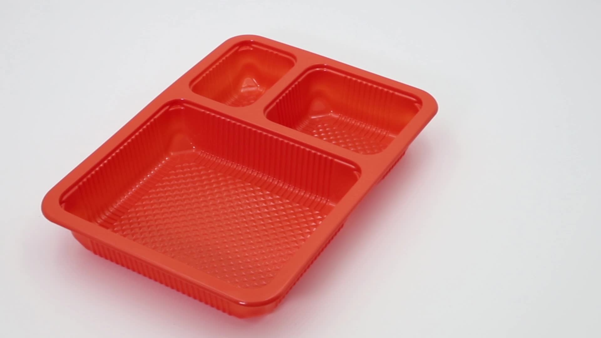 reusable 3 compartment microwavable plastic food container tray wholesale