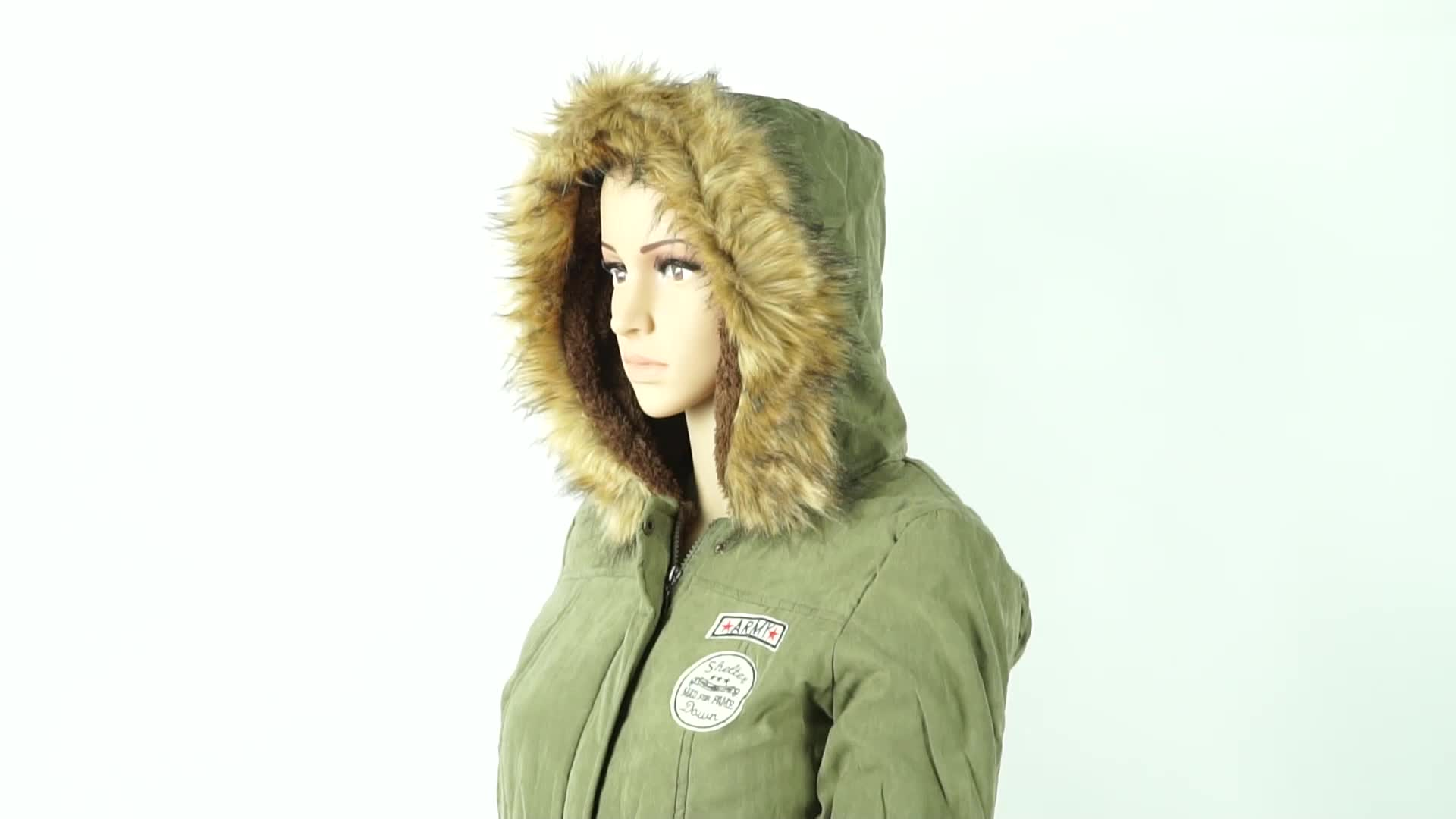 Plus Size Ladies Coats Warm Outwear Fur Collar fleece green Parkas Women winter army Jacket