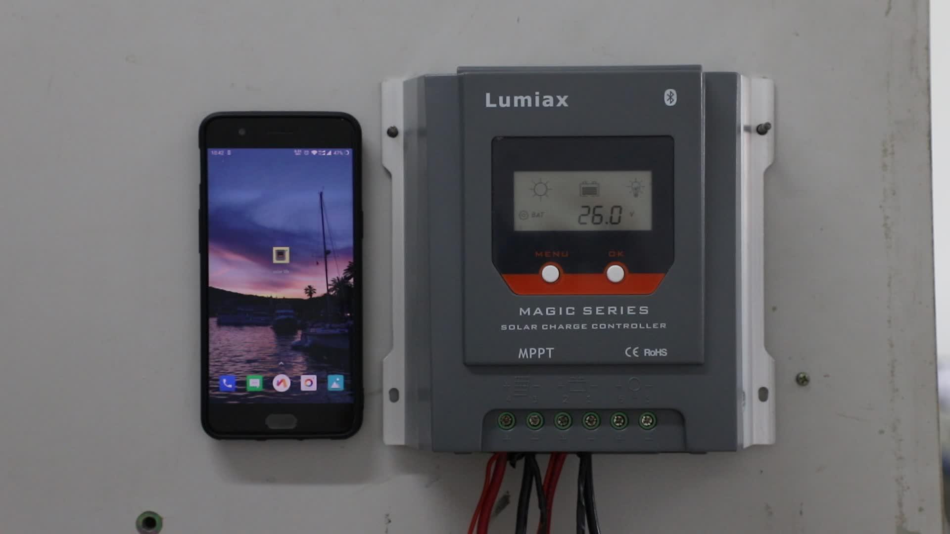 Lumiax 12v 24v 30a 블루투스 rvs mppt 태양열 충전 컨트롤러 화면