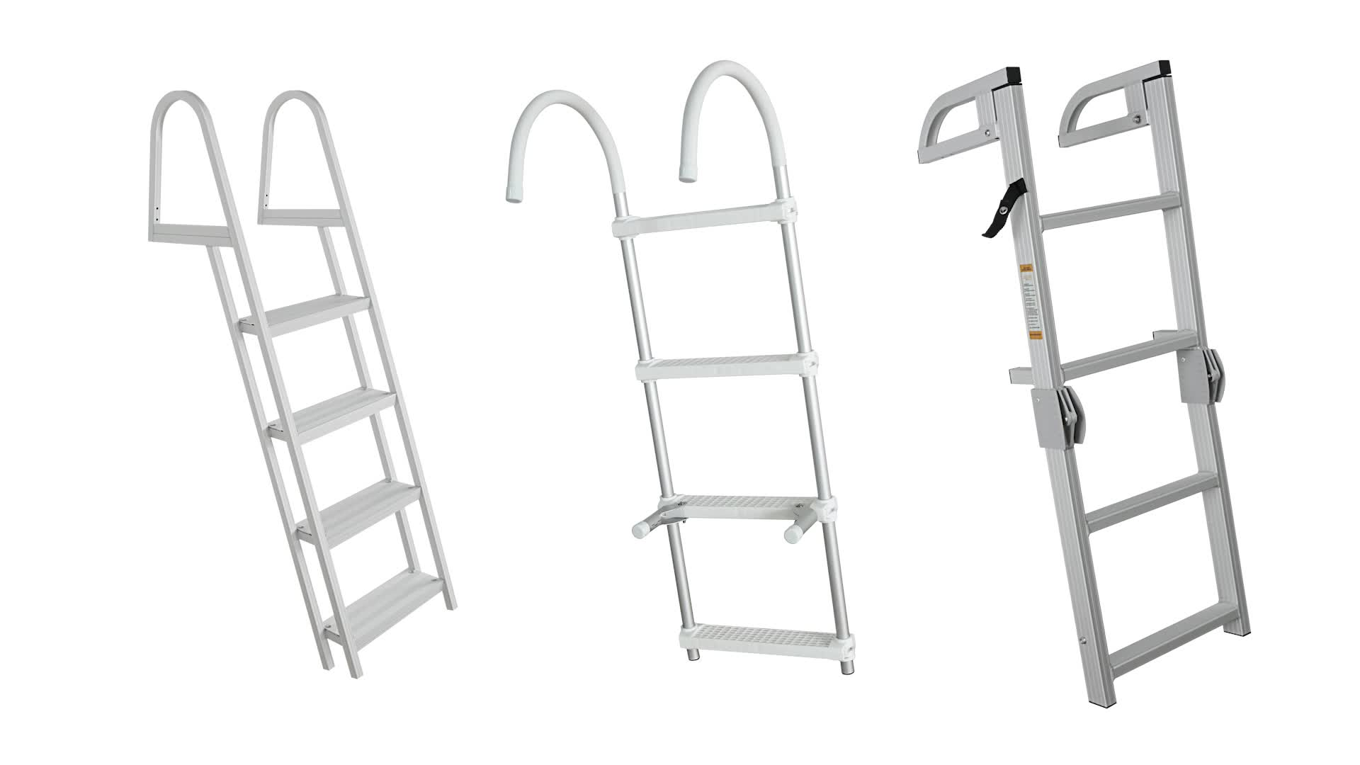 HOMFUL Portable Hook-on Inflatable Boat Boarding Ladder aluminum boat ladder