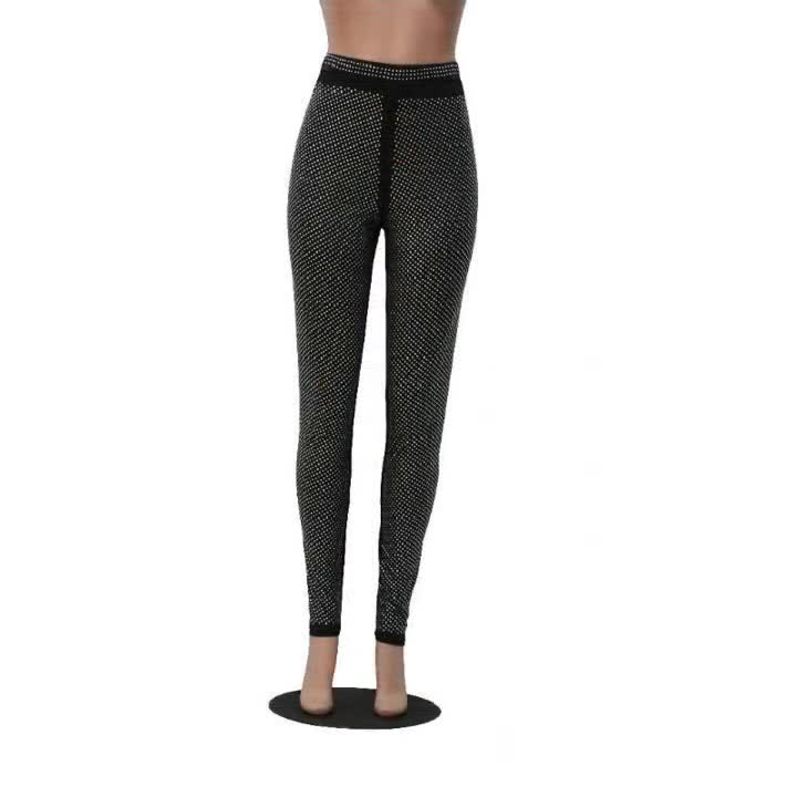 Fashion sexy diamond-trimmed high elastic skinny trousers women