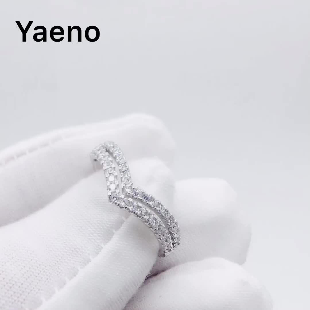 Cheap Price Jewelry Sterling Silver Zircon Stone Double Wave 925 Silver Ring