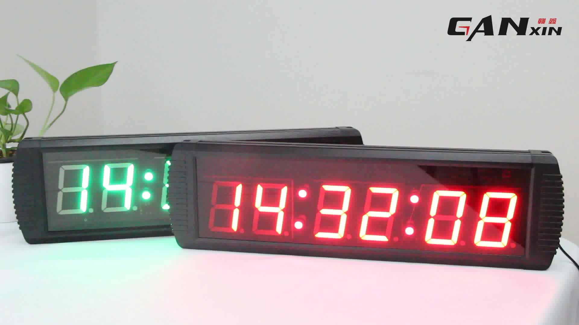 [Ganxin]4'' 6 Digits Square Low Voltage Digital Clock Electronic Led Digital Count Up / Countdown / Stopwatch Wall Clock