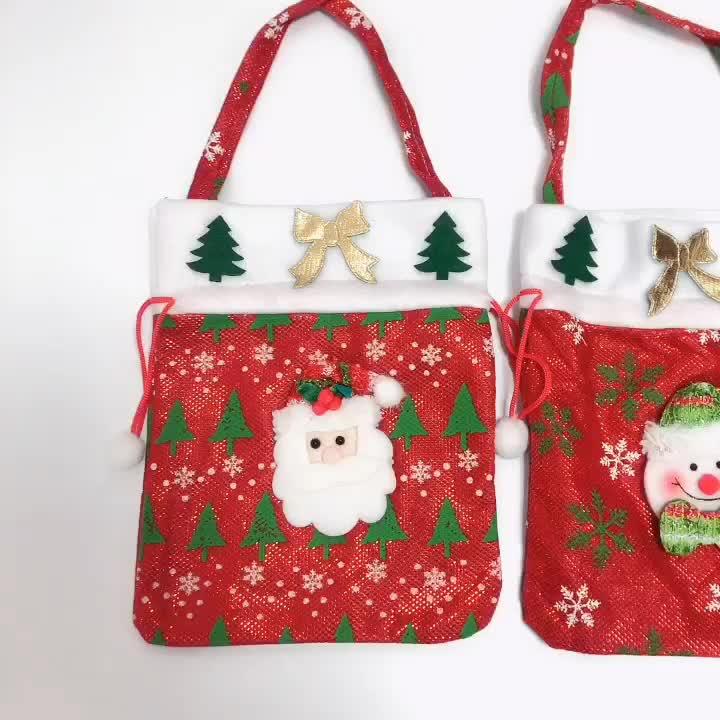 Usine de noël fournitures non tissé d'apple de sucrerie sacs de bonbons De Noël cordon cadeau sacs