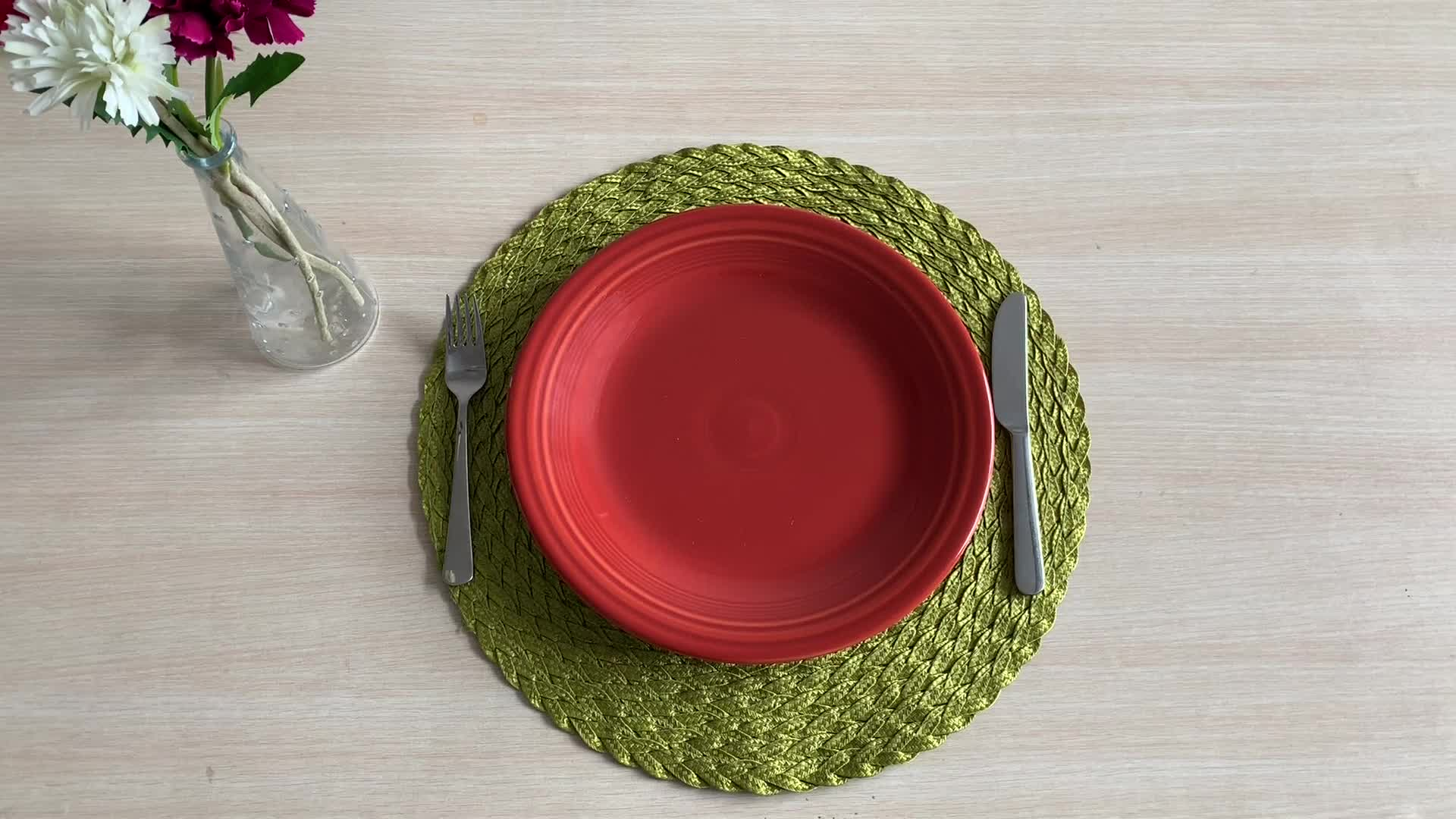 Chinese design cheap plastic table placemats woven pp round placemats