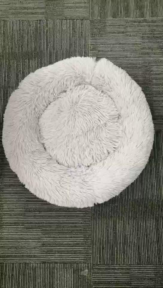 Wholesale Hot Round Novelty Luxury Soft Fluffy Cuddler Cushion Plush Animal Cats Dog Pet Sofa Bed