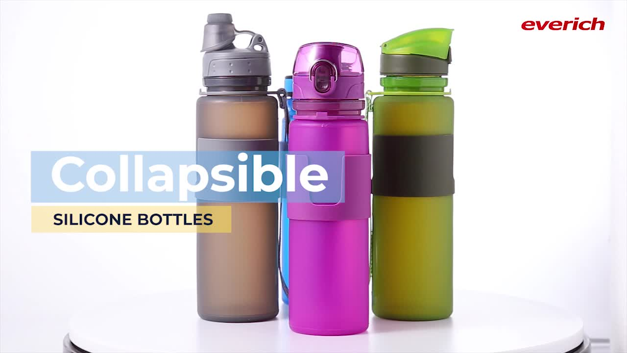 Wholesale Private Label BPA Free Expandable Collapsible Folding Drink Bottle Travel Sports Silicone Foldable Water Bottles