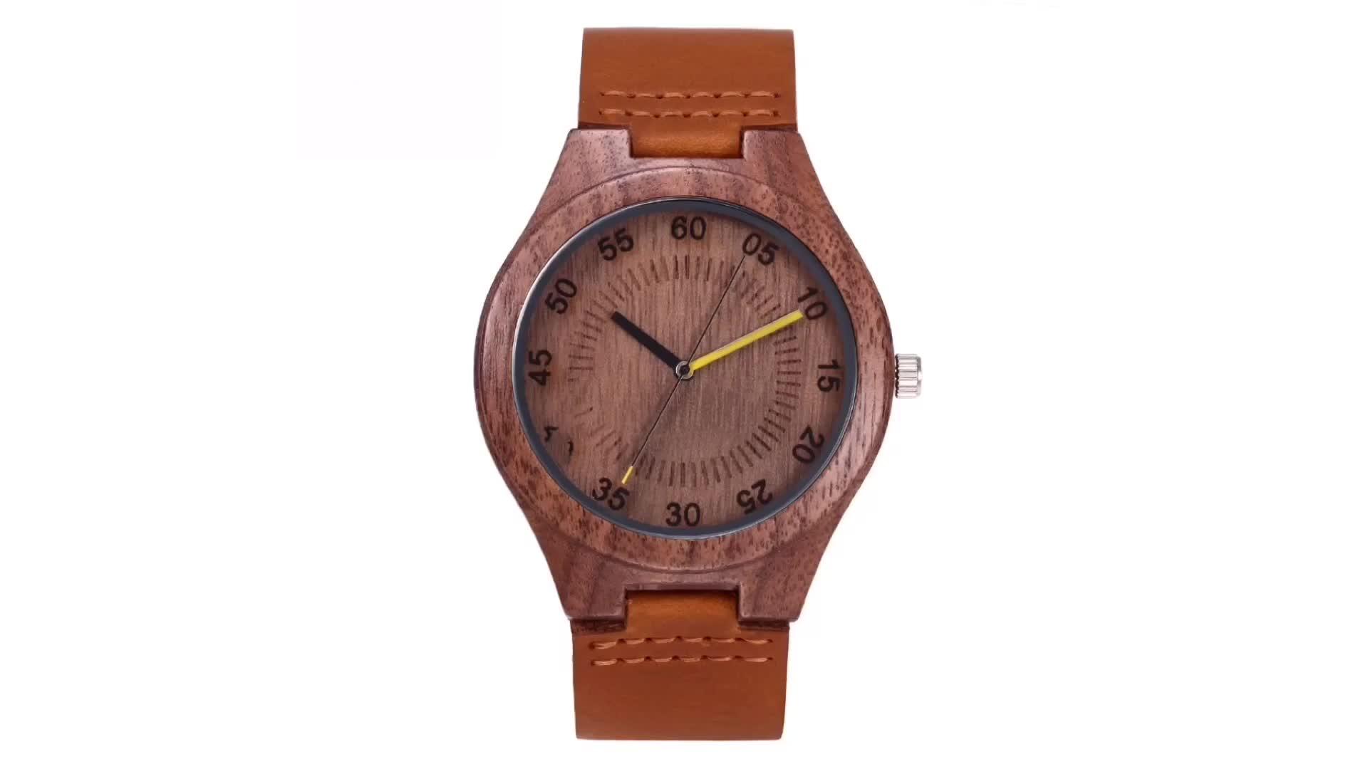 Hot produtos private label Japonês movimento quartz mens engraveable relógios de madeira de Nogueira