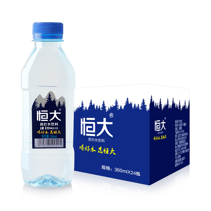 4.9分,0糖0热量弱碱:恒大 原味苏打水 360mlx24瓶