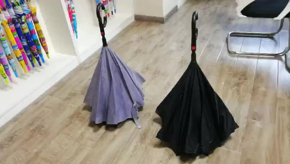 2020 Custom manual inverse reverse umbrella with double layer pongee material