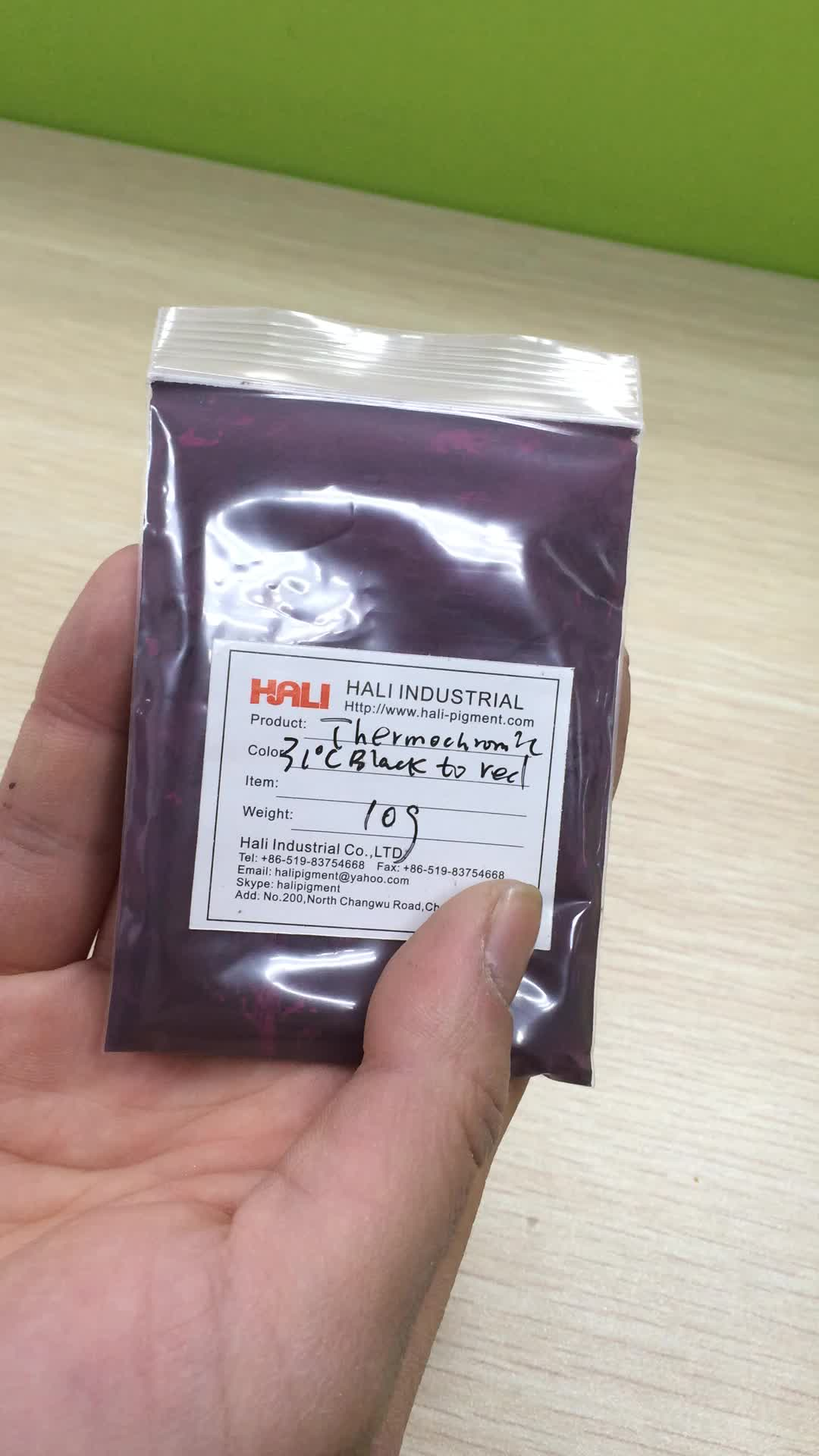 thermochromic pigment powder,color change by temperature, heat sensitive, item:HLR-7004,black to red