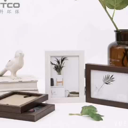 INTCO Hot Selling Folding Book Style Wood Glass Photo Picture Frame