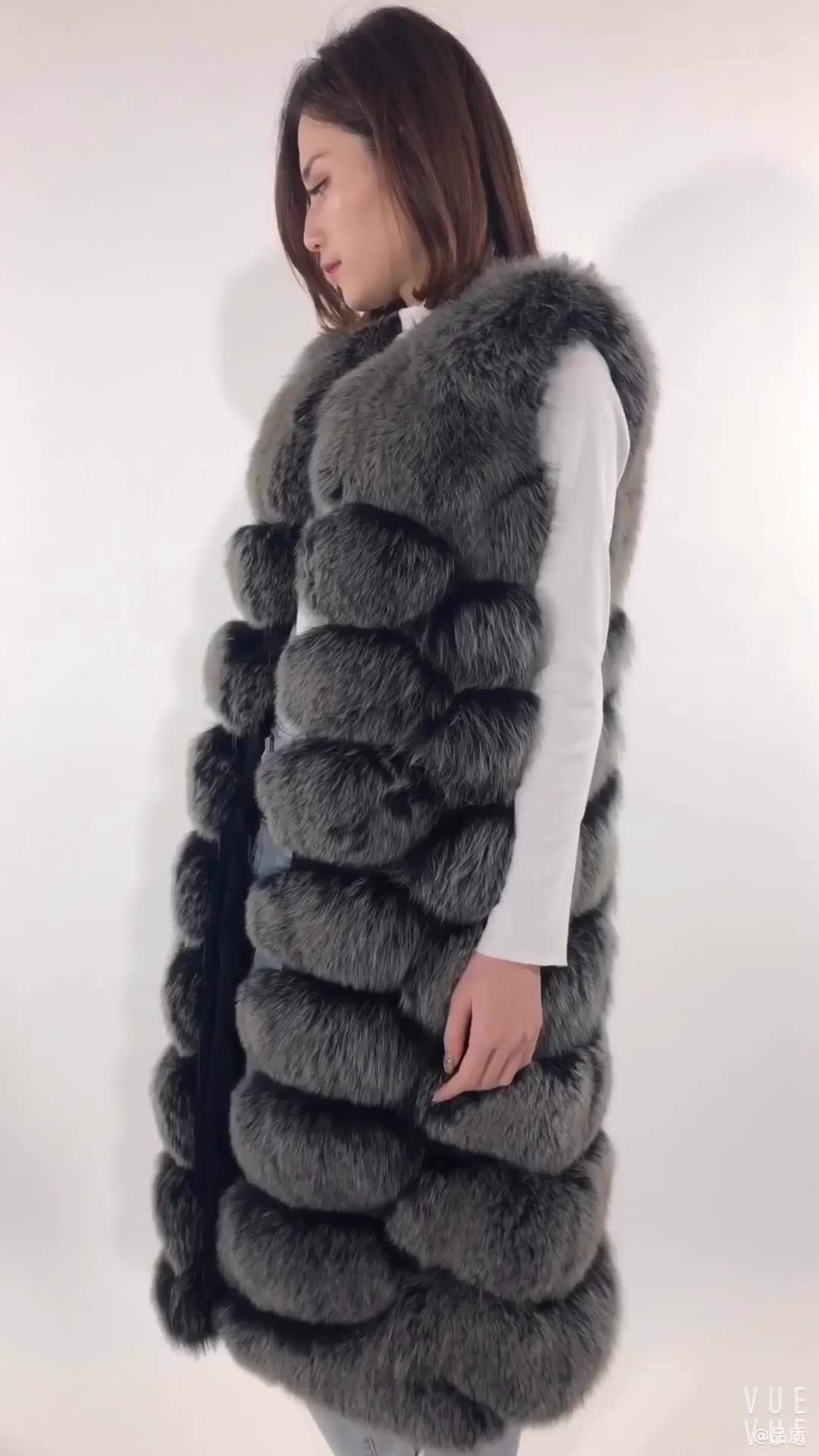 Factory wholesale small order quantity women winter fashion long real fox fur vest