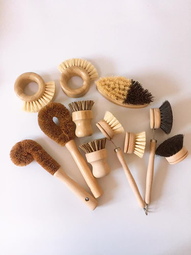 nature sisal and wooden handle house kitchen washing brushes fiber bowl brush for cleaning pot and dish