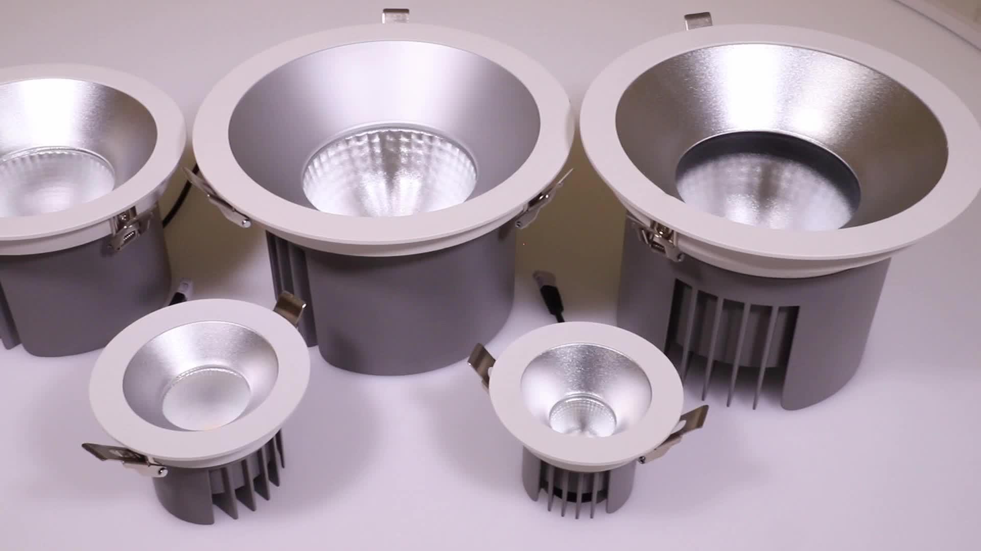 โรงงานมี commercial skd ip67 LED หรี่แสงได้อลูมิเนียม 10w 35w 60w 80w 50w cob downlight