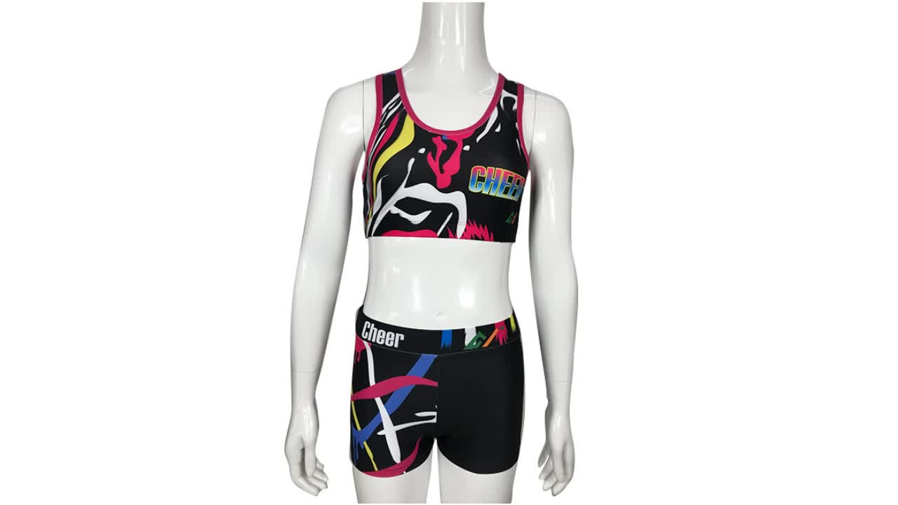 Sexy cheerleader costume for high quality sportswear sublimation cheer practice uniforms