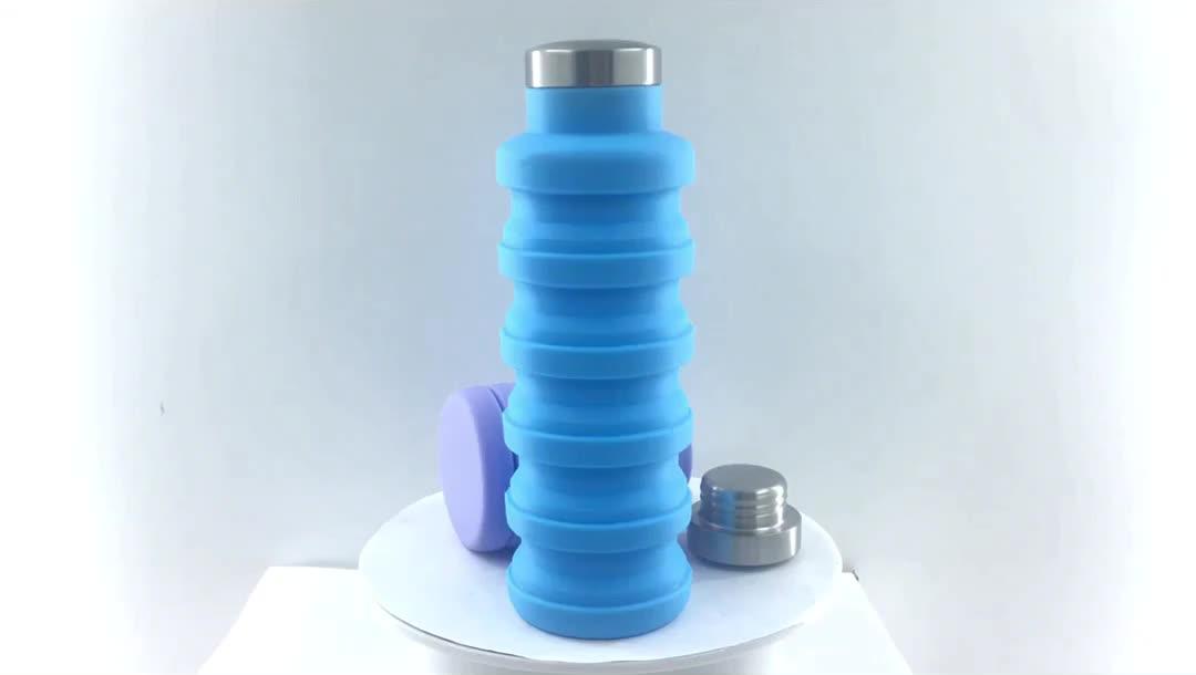 Custom Logo Sport 700ml Silicone Folding Water Bottle