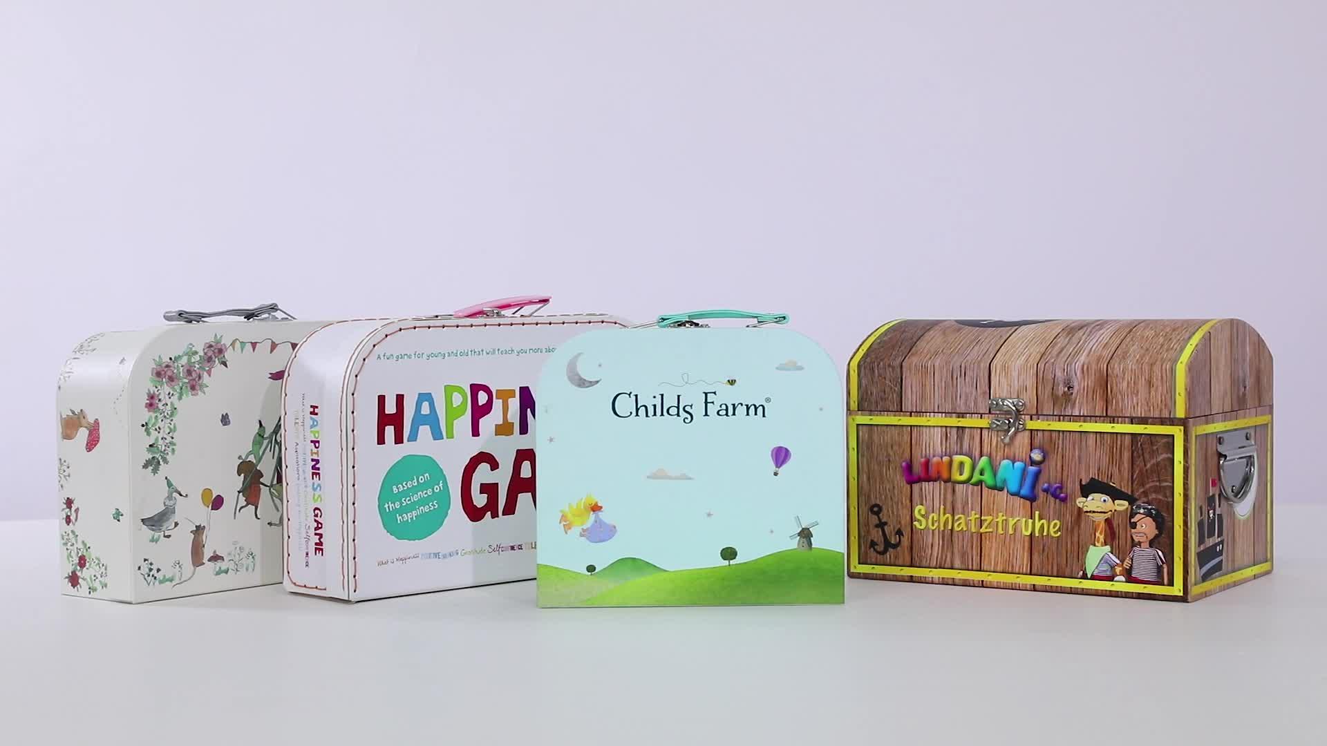 Gepäck Kinder Spielzeug Schatzkiste Starre Papier Mode Luxus Pappe Kinder Papier Koffer Verpackung Geschenk box