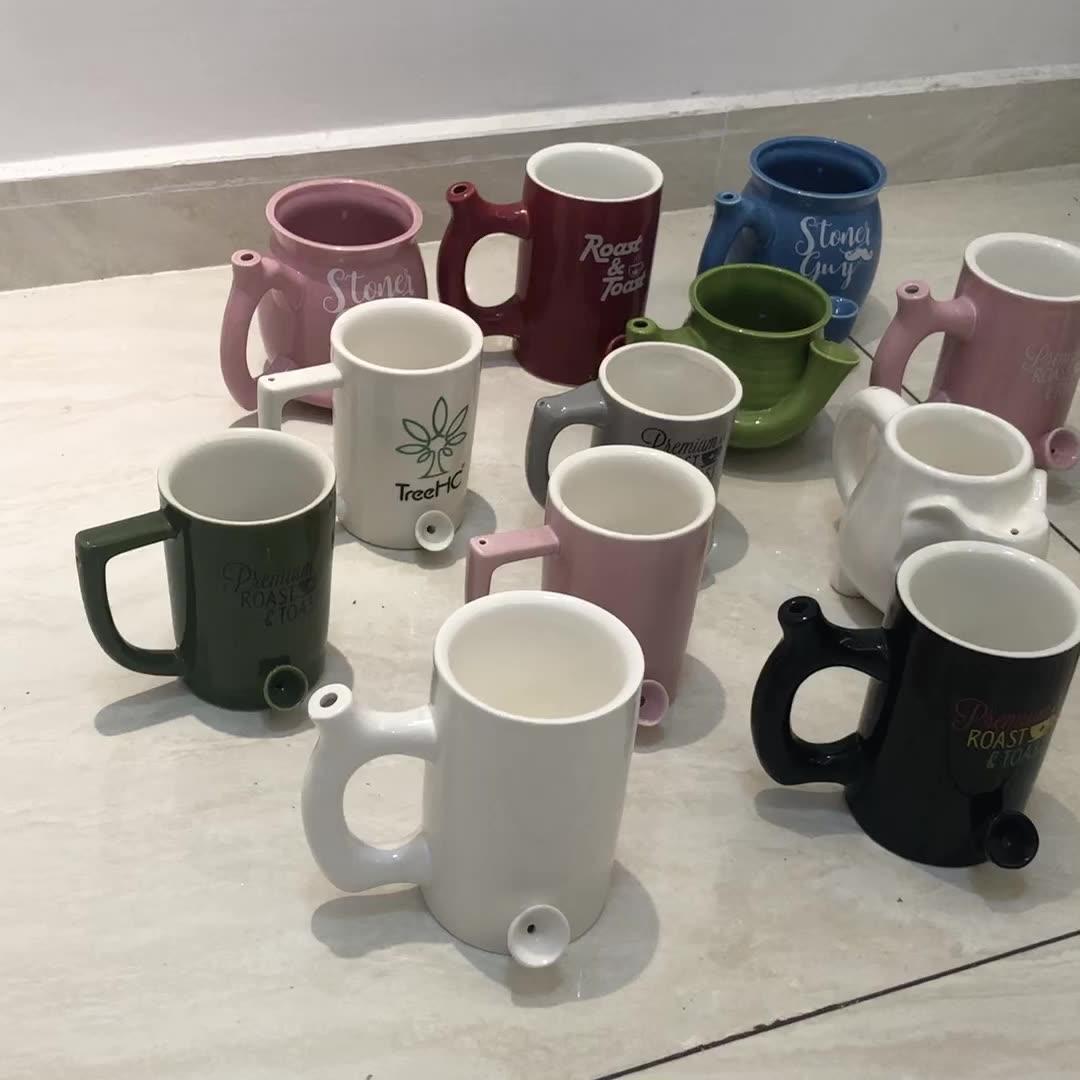 Fabriek goedkope prijs nieuwe creatieve brede mond koffie pijp water cup reclame roken mok tabak pijp koffie thee cup