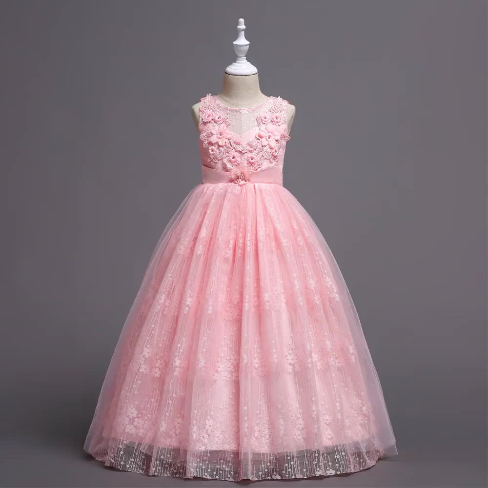 European and American style flower dresses High quality girl's Bridesmaid Dress Children's performance dress