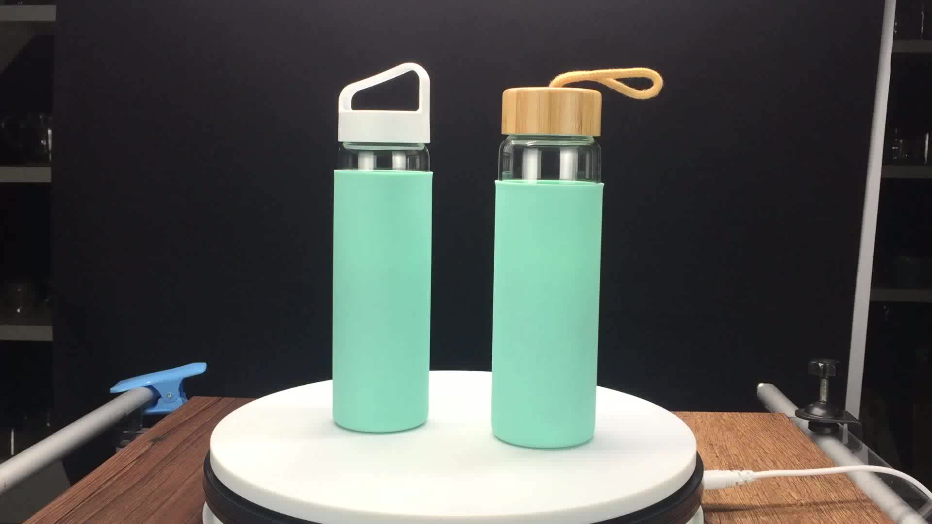 Handmade High Quality Different Models Customized Glass Water Bottle with the customized sleeve