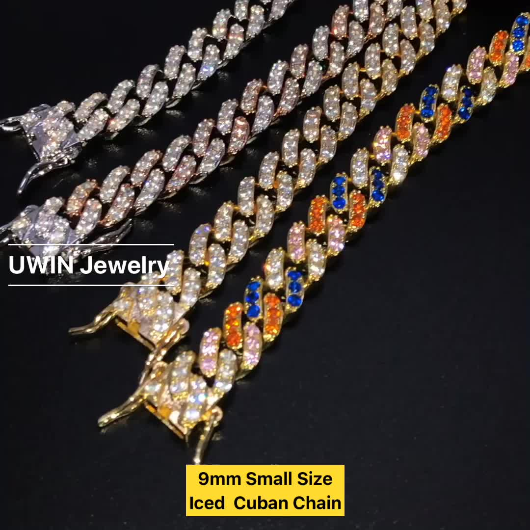 Fashion 9mm Pink Cubic Cuban Link Chain Rose Gold Plated CZ Women Jewelry Necklace