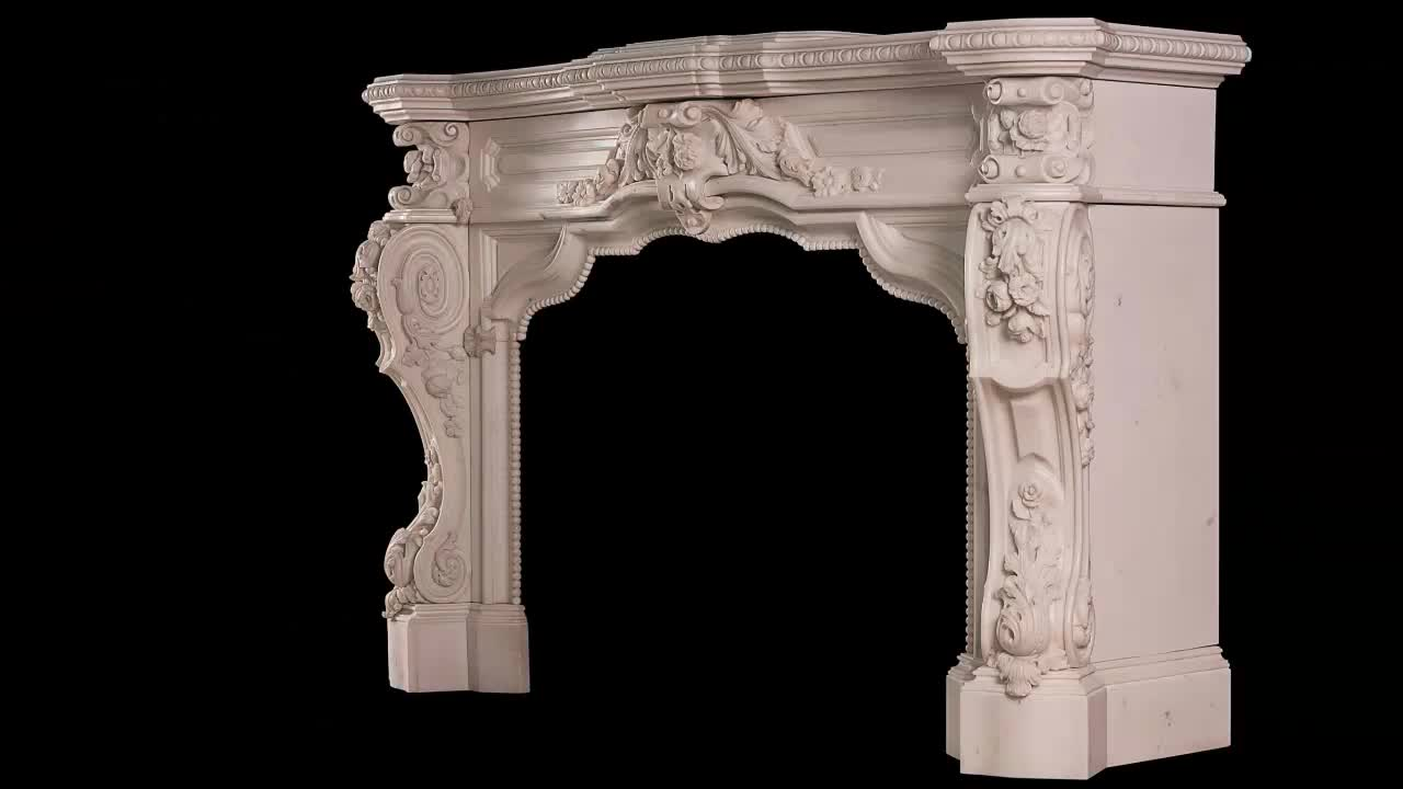 Factory Price Luxurious Hand Carved Chinese White Marble fireplace mantel