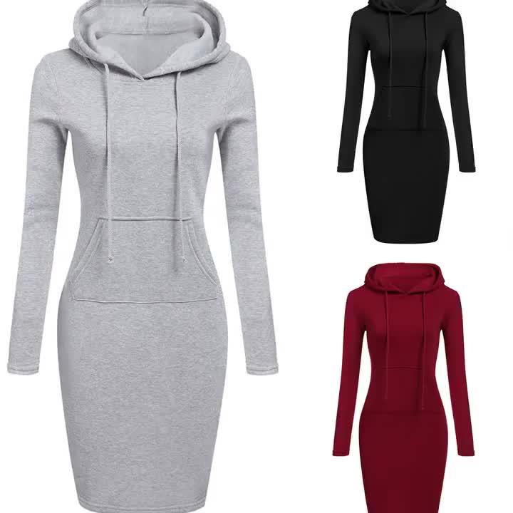 Autumn Winter Warm Sweatshirt Long-sleeved Dress Woman Clothing Hooded Collar Pocket Design Simple Woman Dress 2019 New