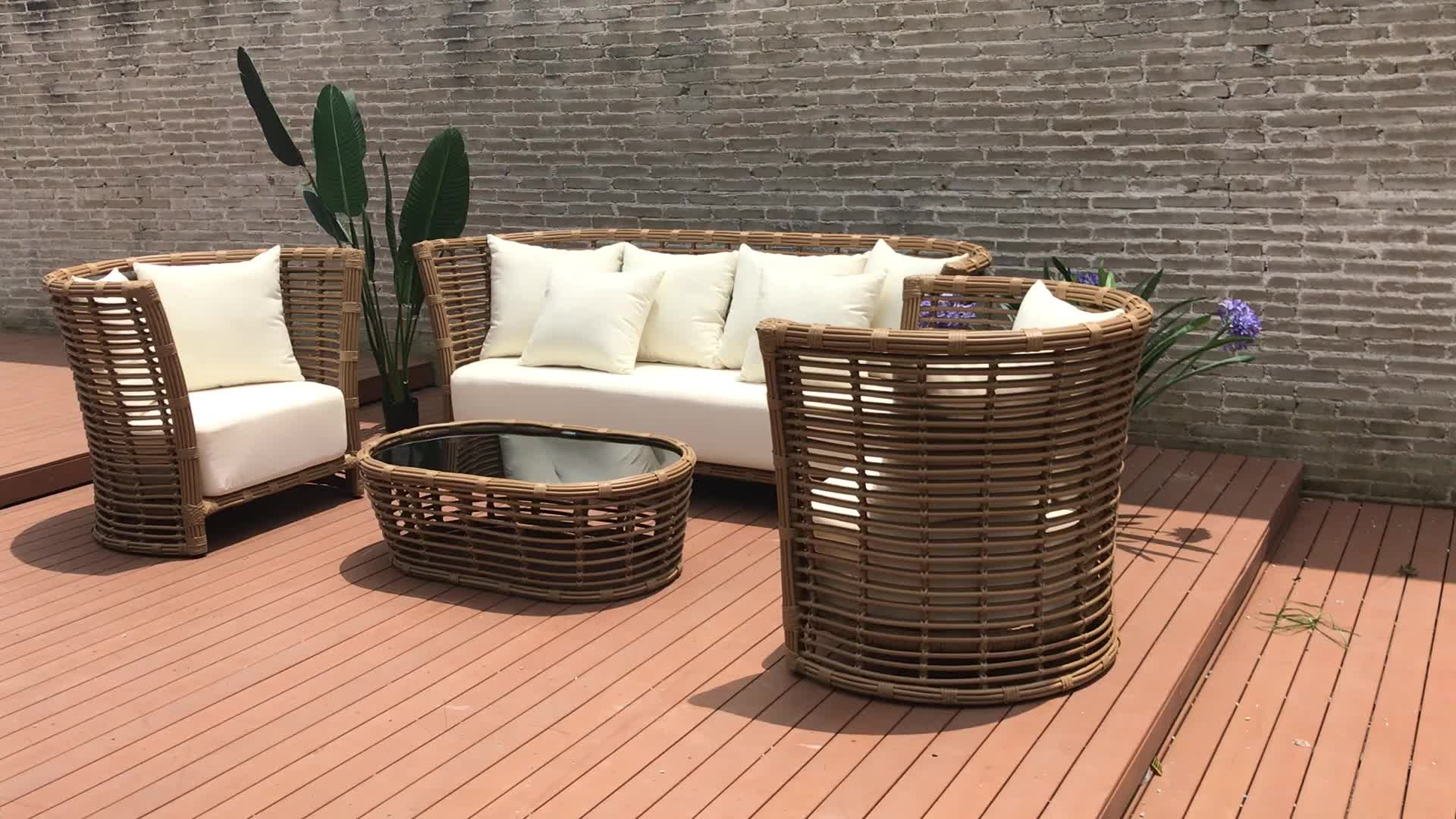 Hot sale synthetic wicker outdoor furniture rattan sofa set