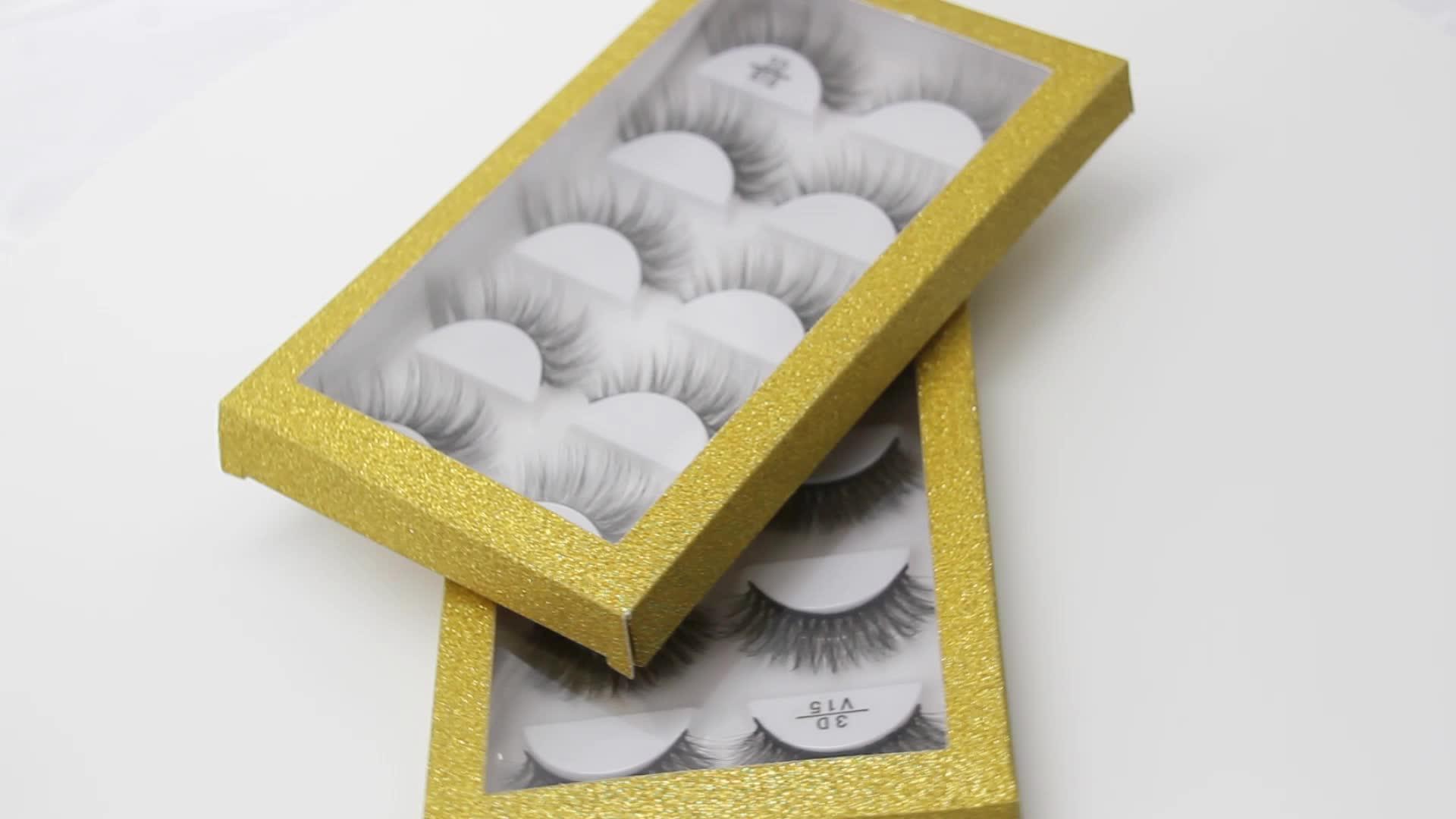 Groothandel Private Label Valse Wimpers gevallen custom 5 pairs lash box Custom Verpakking Dozen