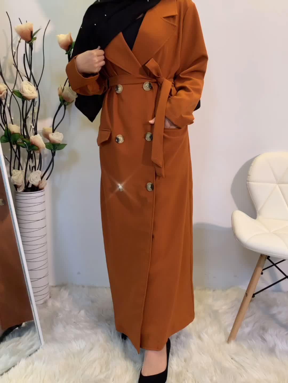 1783 # Phong Cách Thời Trang Dày Polyester Abaya Áo Khoác Nữ Áo Khoác Mùa Đông Mùa Đông Dài Tay Áo Khoác Tùy Chỉnh