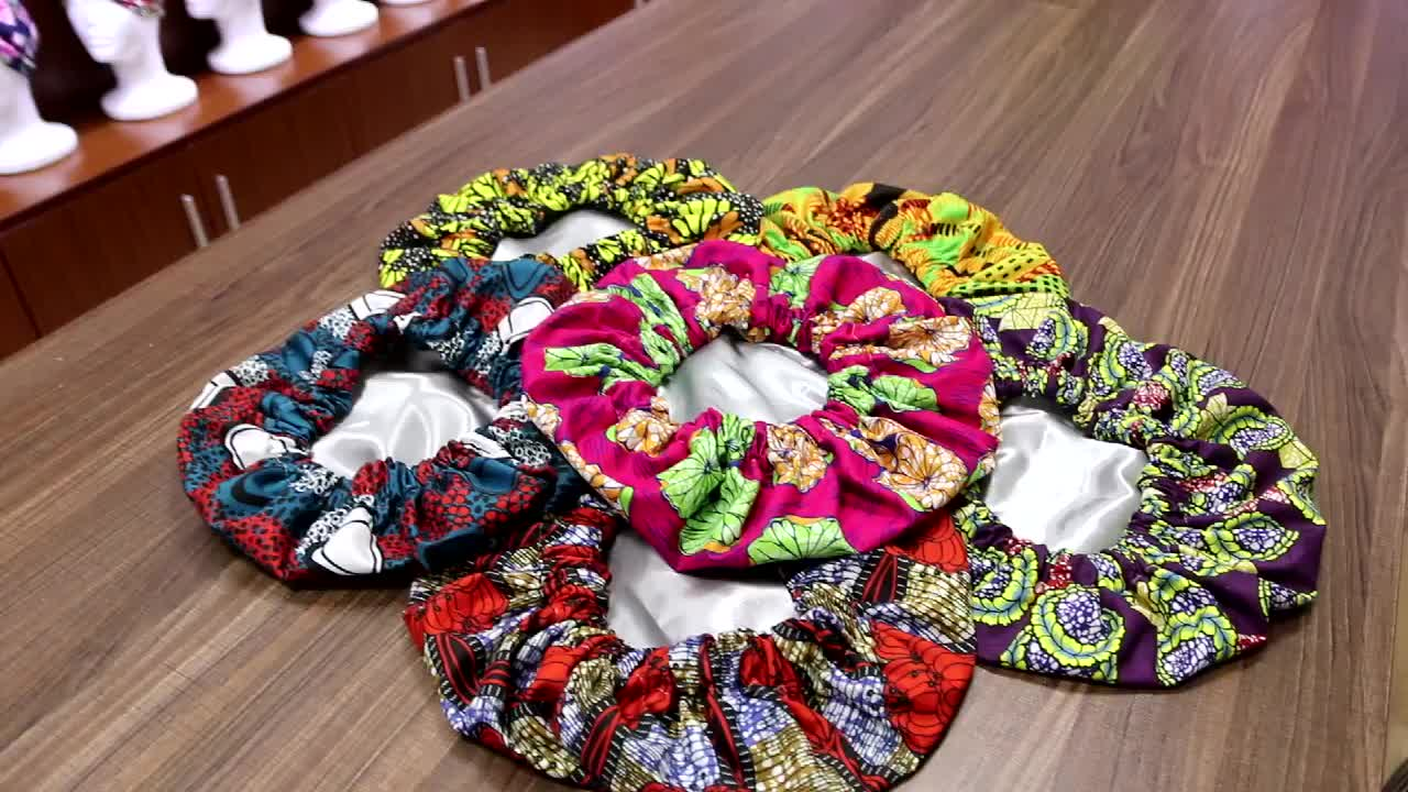 Amazon Best Selling 2020 Multicolor Handmade Products Custom Silk African Ankara Print Sleep Hair Bonnet with Logo for Wholesale