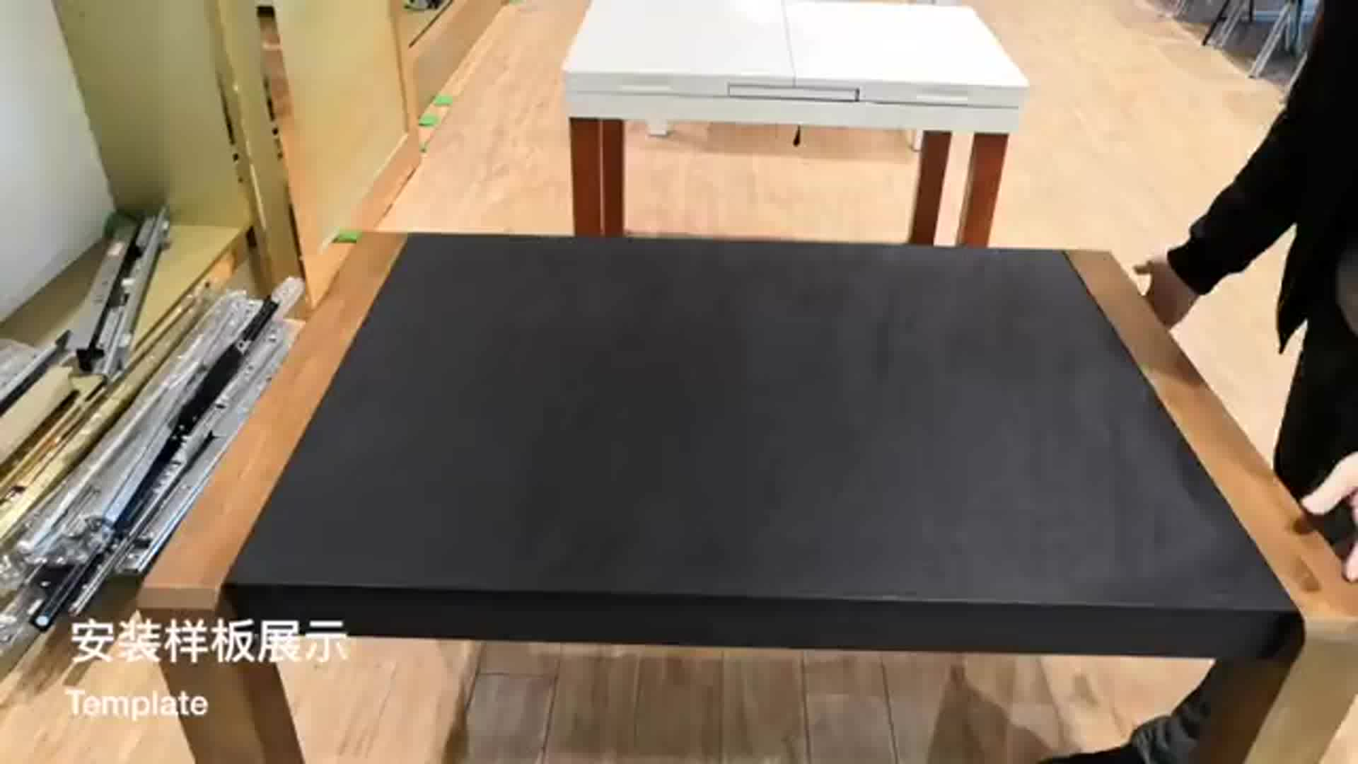Heavy-duty steel ball bearing sliding extension mechanism for dining table