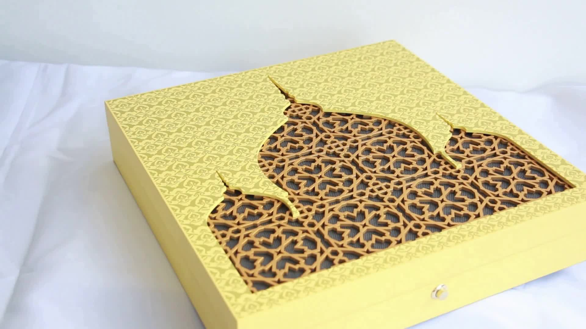 Custom Hollow Design Luxury Yellow Arabic Wood Perfume Box