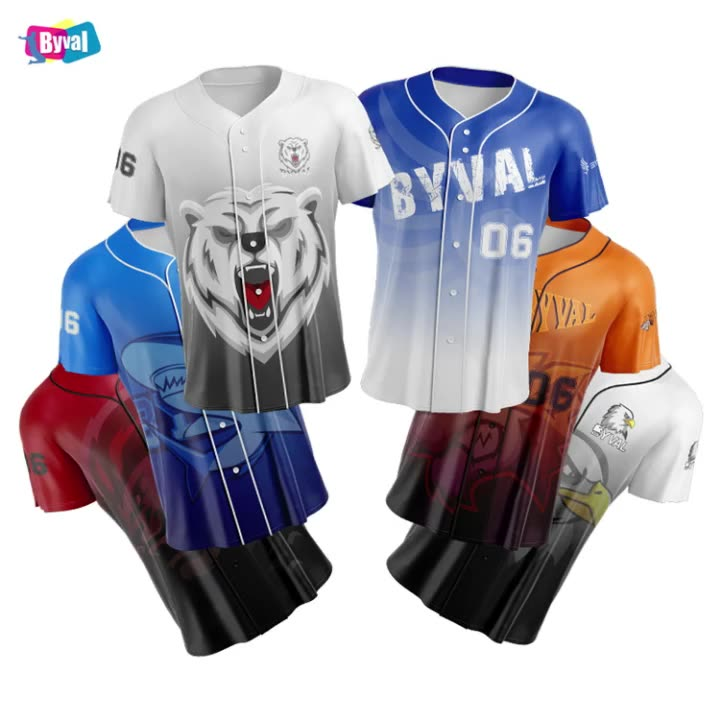 Byval 100%Polyester Quick Dry Sports Buttons Down Mens Baseball Jersey Custom Logo Printed Sublimation Printing Baseball Shirt