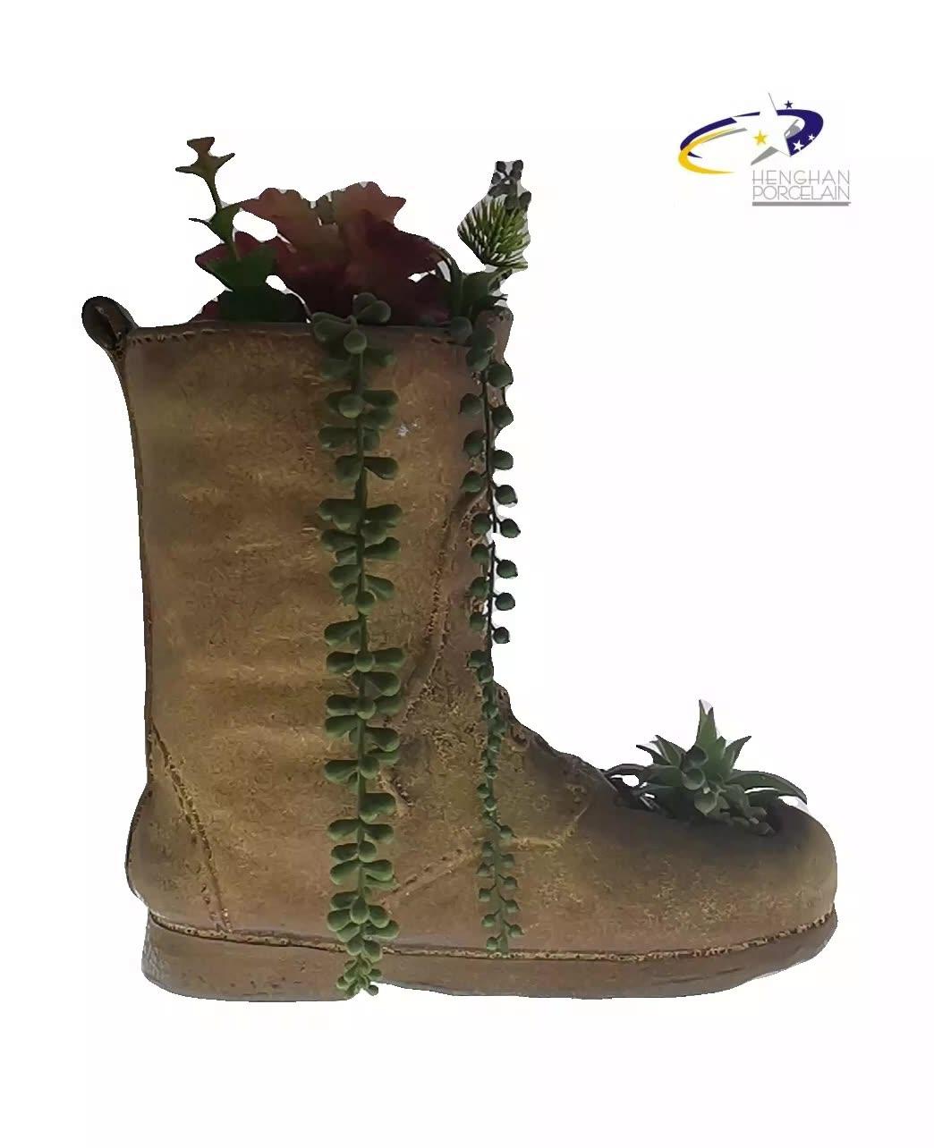 Barato por atacado ao ar livre de Cerâmica De barro vermelho sapato jardim pote plantador de vaso de flores de Cerâmica plantas suculentas vaso de flores