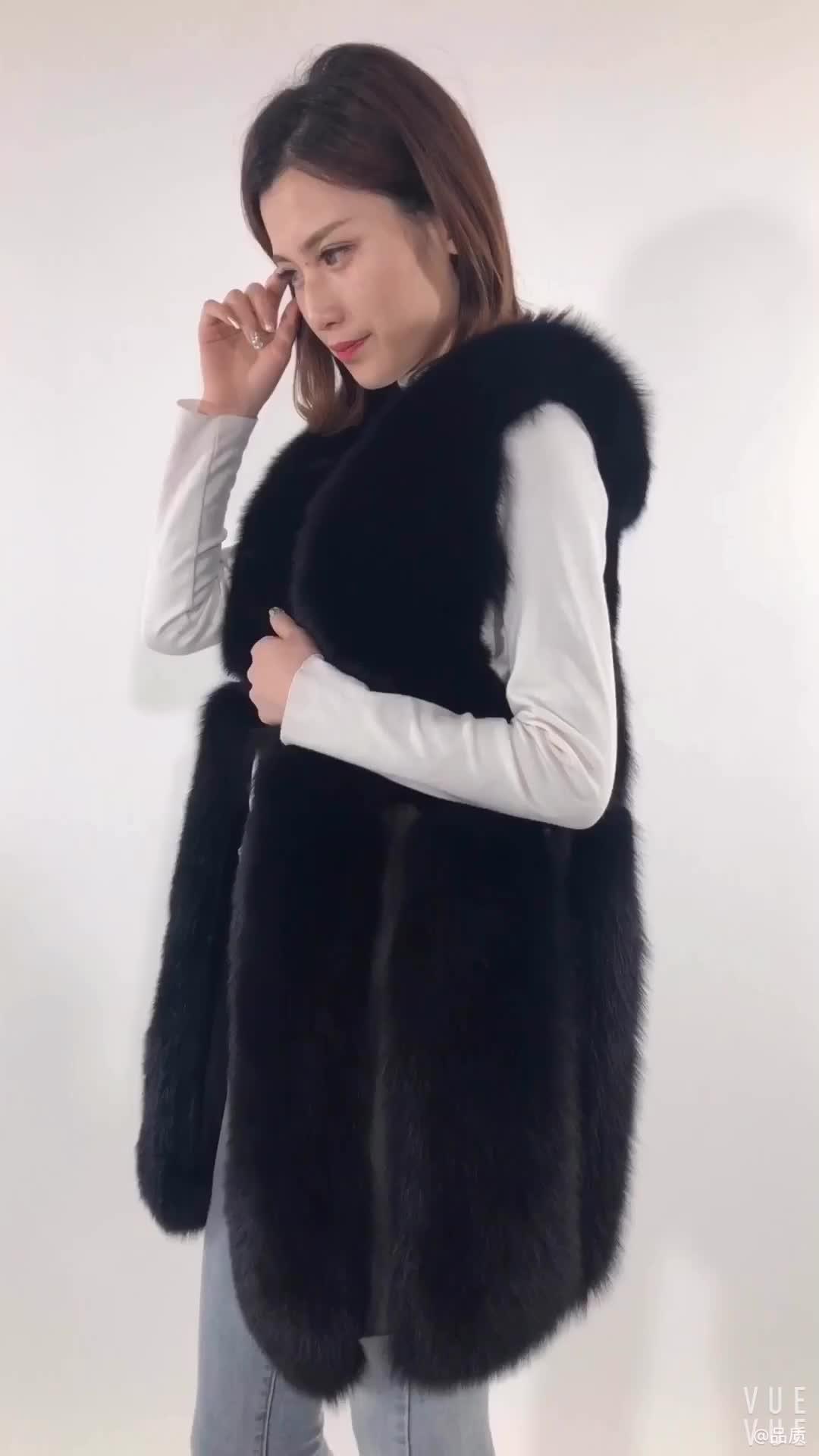 2020 Women Winter Fashion Black White Style Real Fox Fur Vest