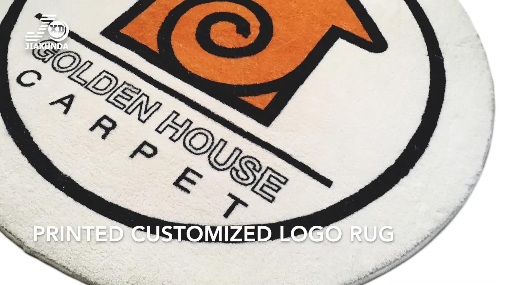 Özelleştirilmiş kişisel logo tasarımı özel yapılmış şirket kapalı alan Logo kapı kilim baskılı yuvarlak halı zeminler için