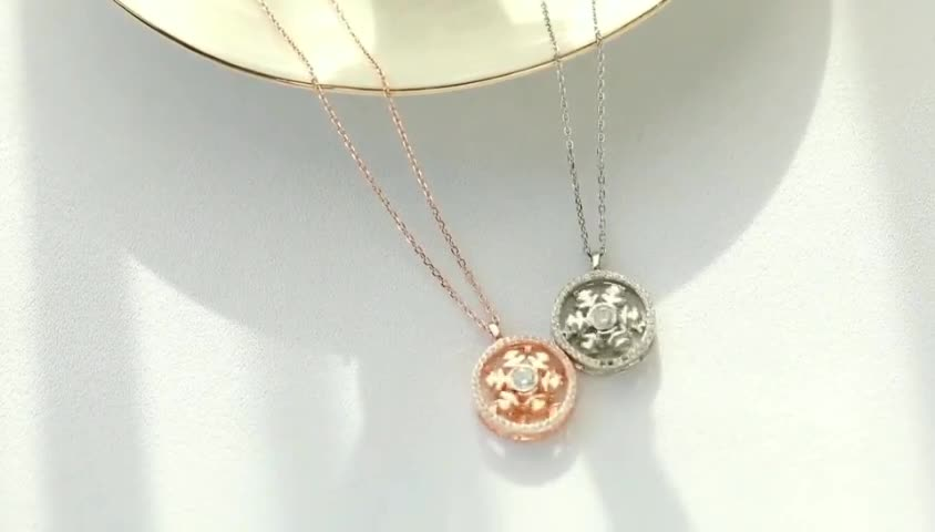 Top Sale Jewelry Fashion Women Can Turn 925 Sterling Silver Snowflake Necklace