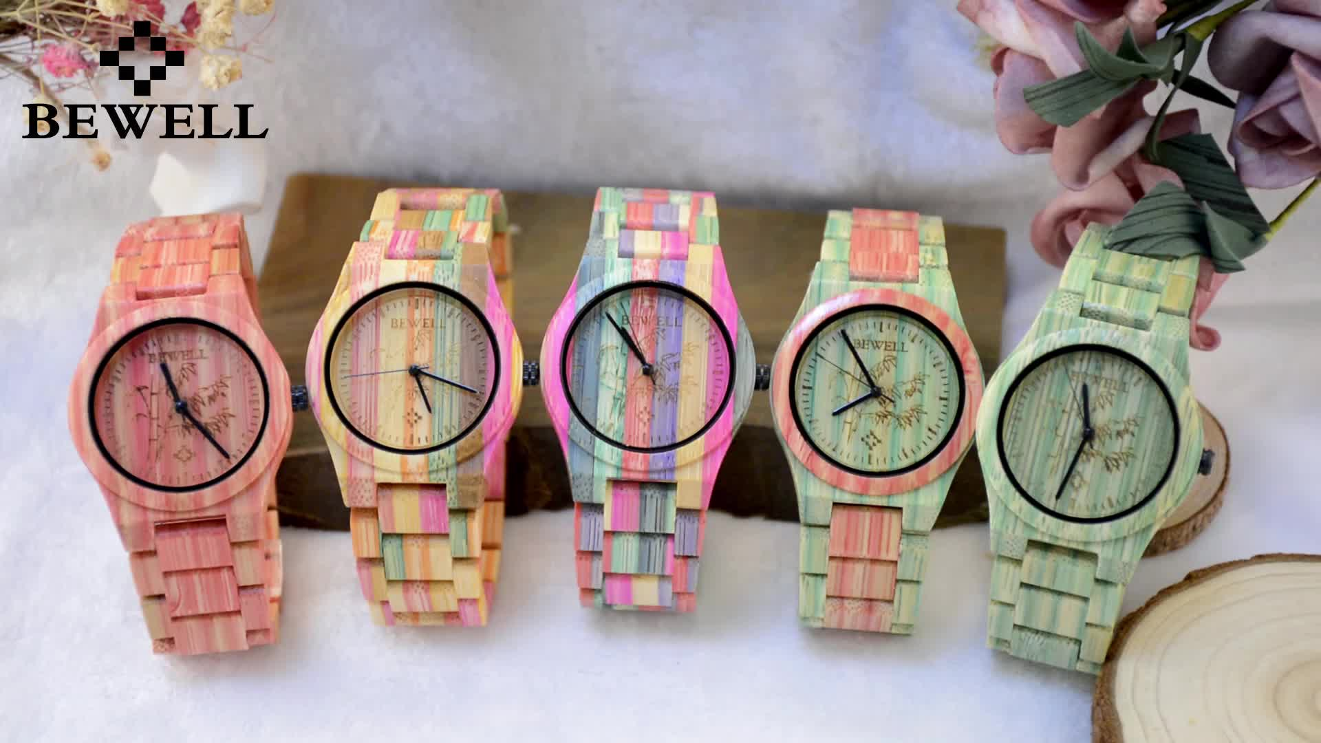 Wholesale factory price bewell brand miyota 2035 movement colorful bamboo wooden watches