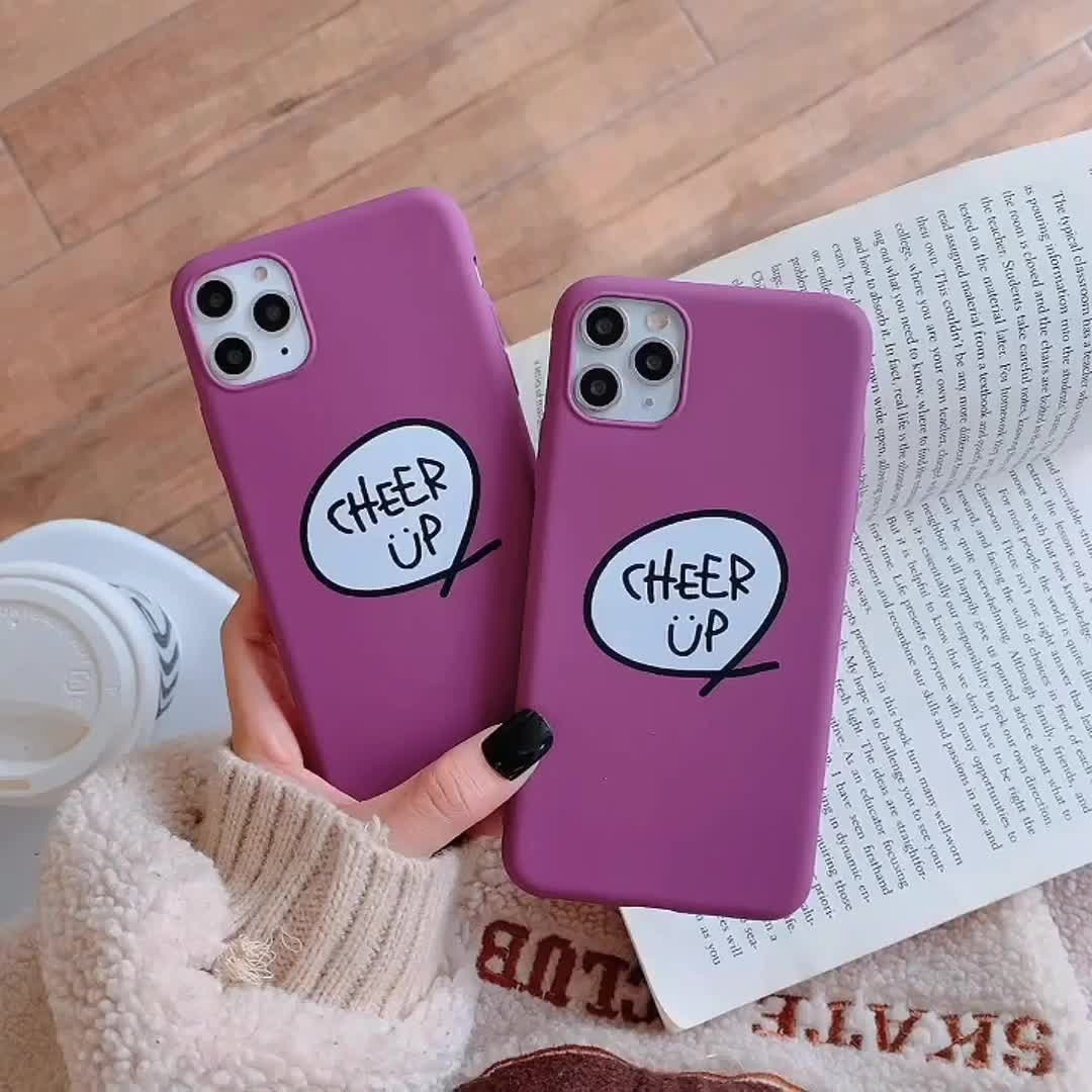 pink cheer up tpu simple cell phone case cover for iphone 11 pro max xs max xr xs x 6 6s 7 8 plus