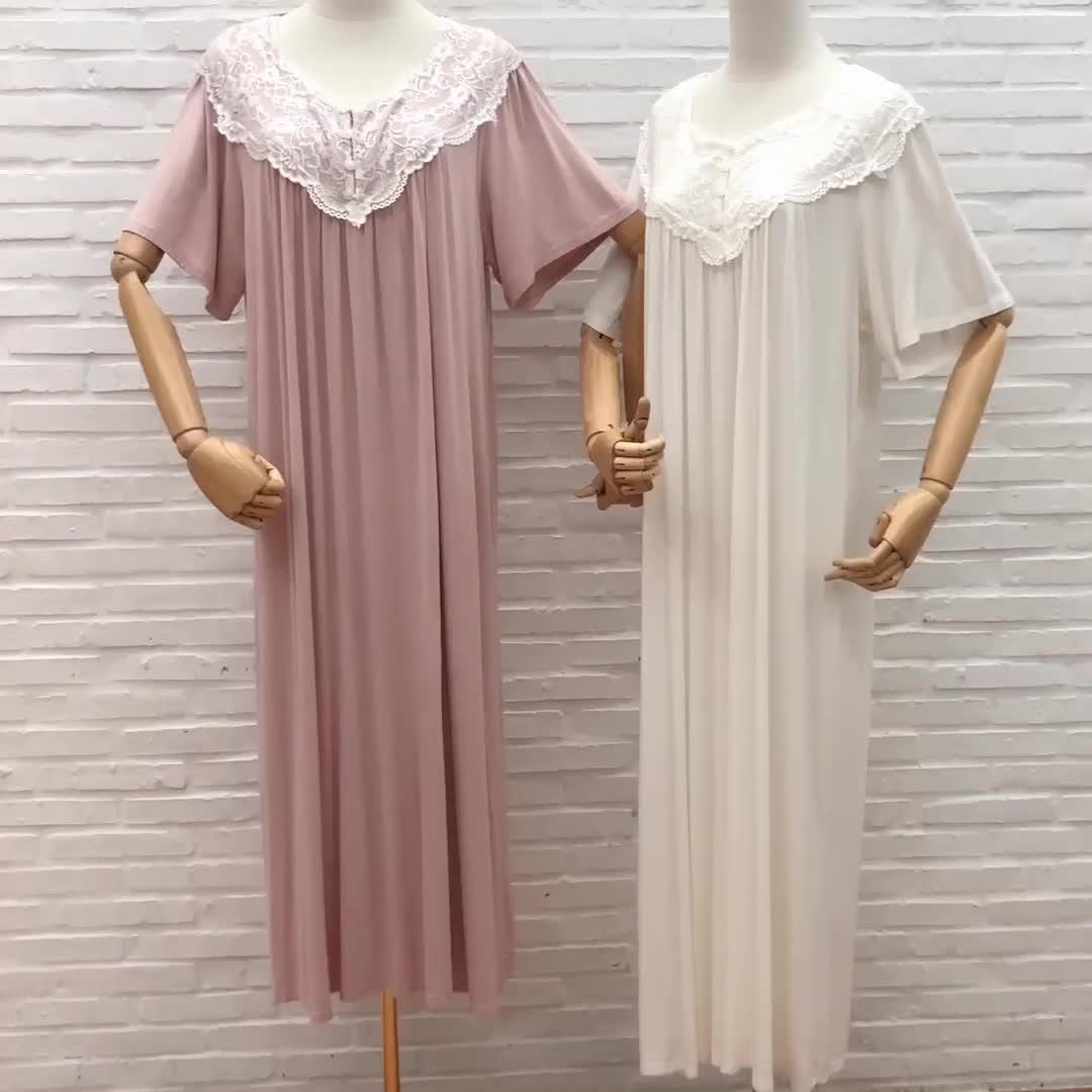 Las mujeres de ropa de salón de algodón blanco liso Plus tamaño de venta al por mayor Sexy camisón de encaje