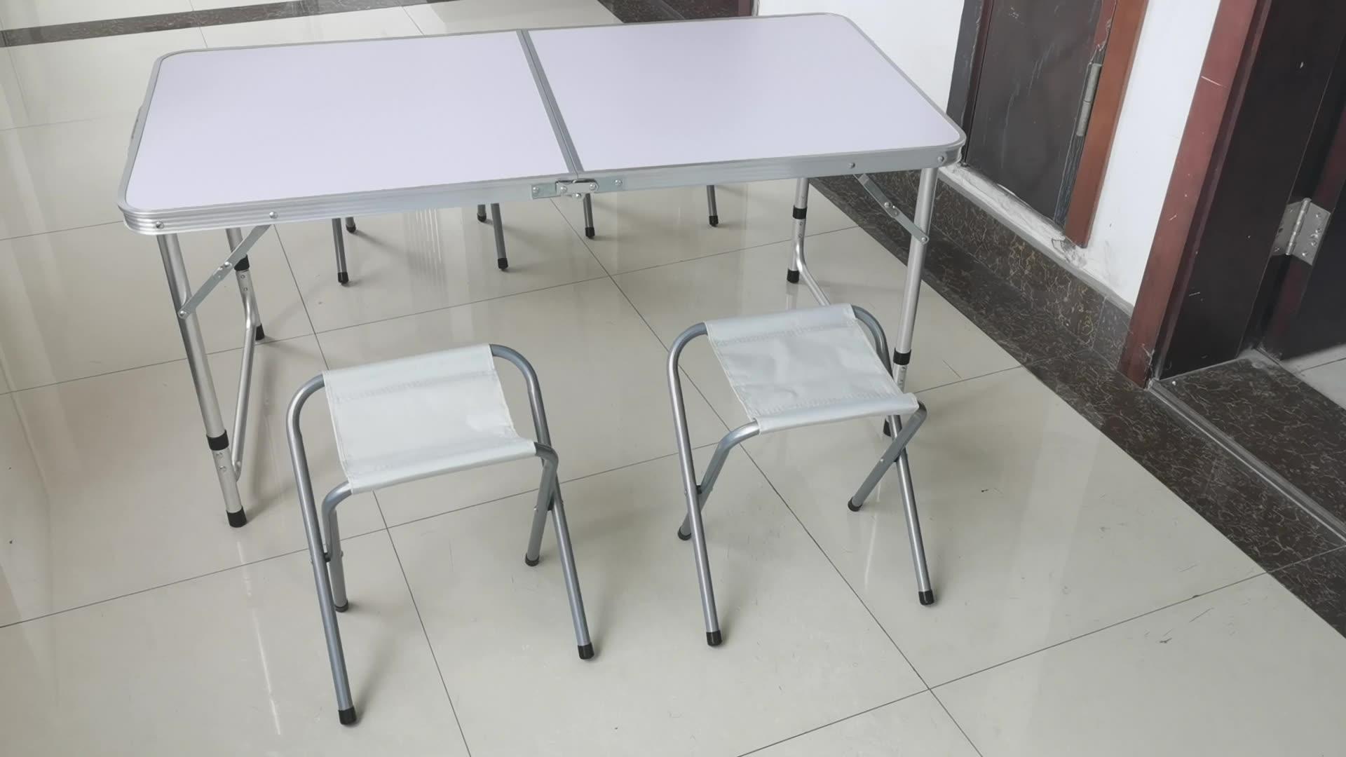 Открытый Регулируемая высота складной стол с 4 складные стулья, портативный Кемпинг Пикник обеденный стол