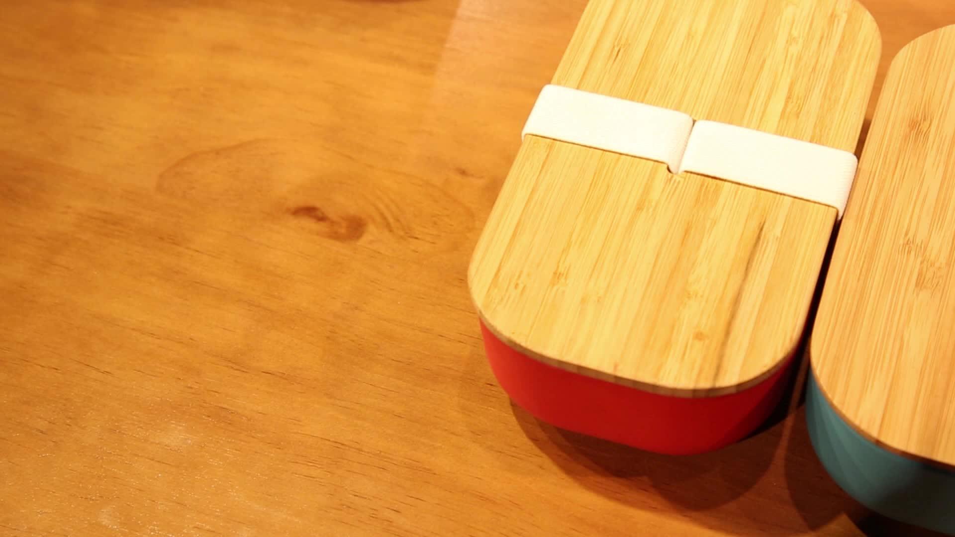 Custom Lekvrij Milieuvriendelijke BPA Gratis Niet Giftig FDA Goedgekeurd Bamboe Fibre Bento Lunchbox met bamboe deksel