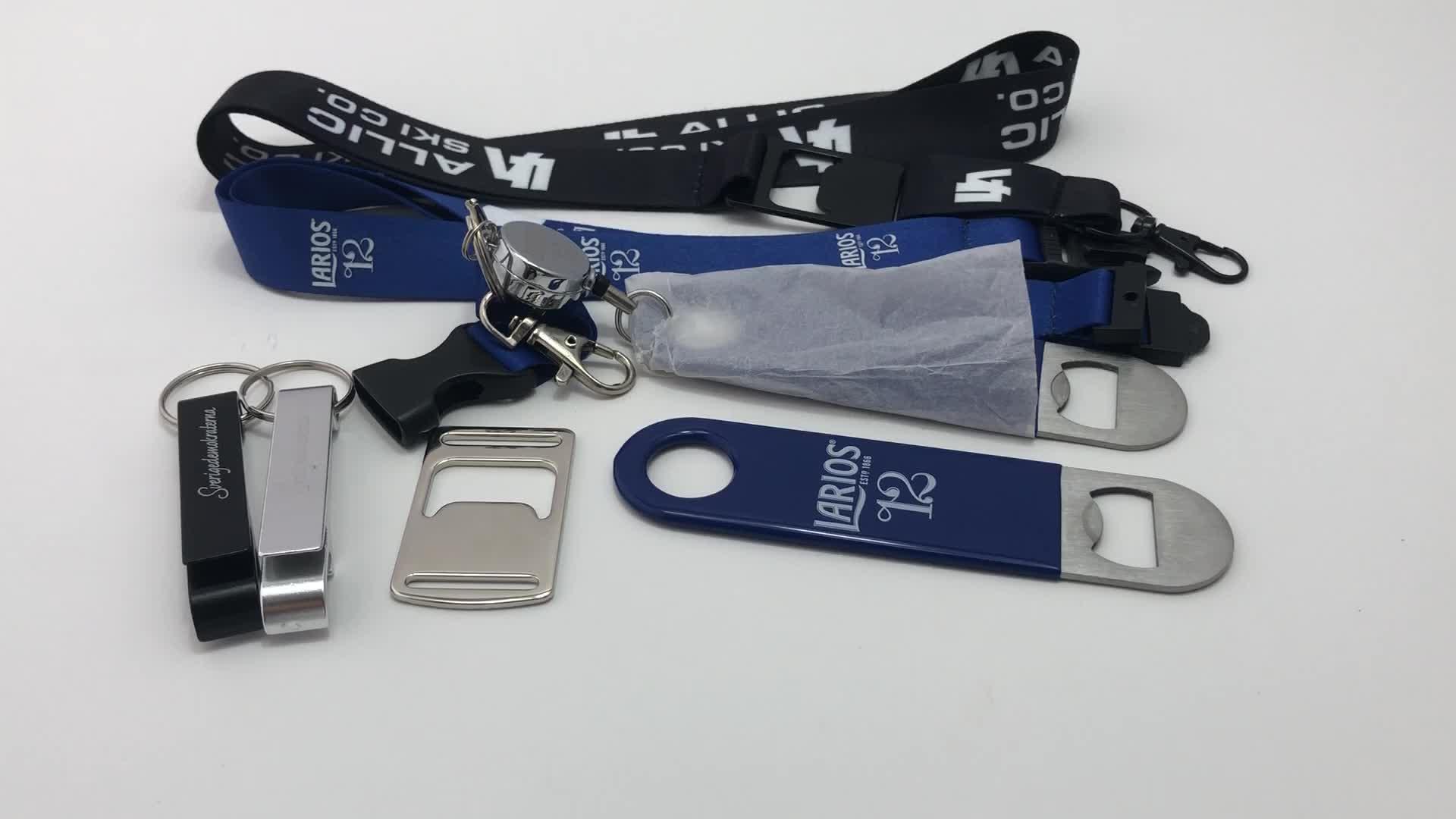 Bianco personalizzato o laser logo in metallo keychain apri di bottiglia per può