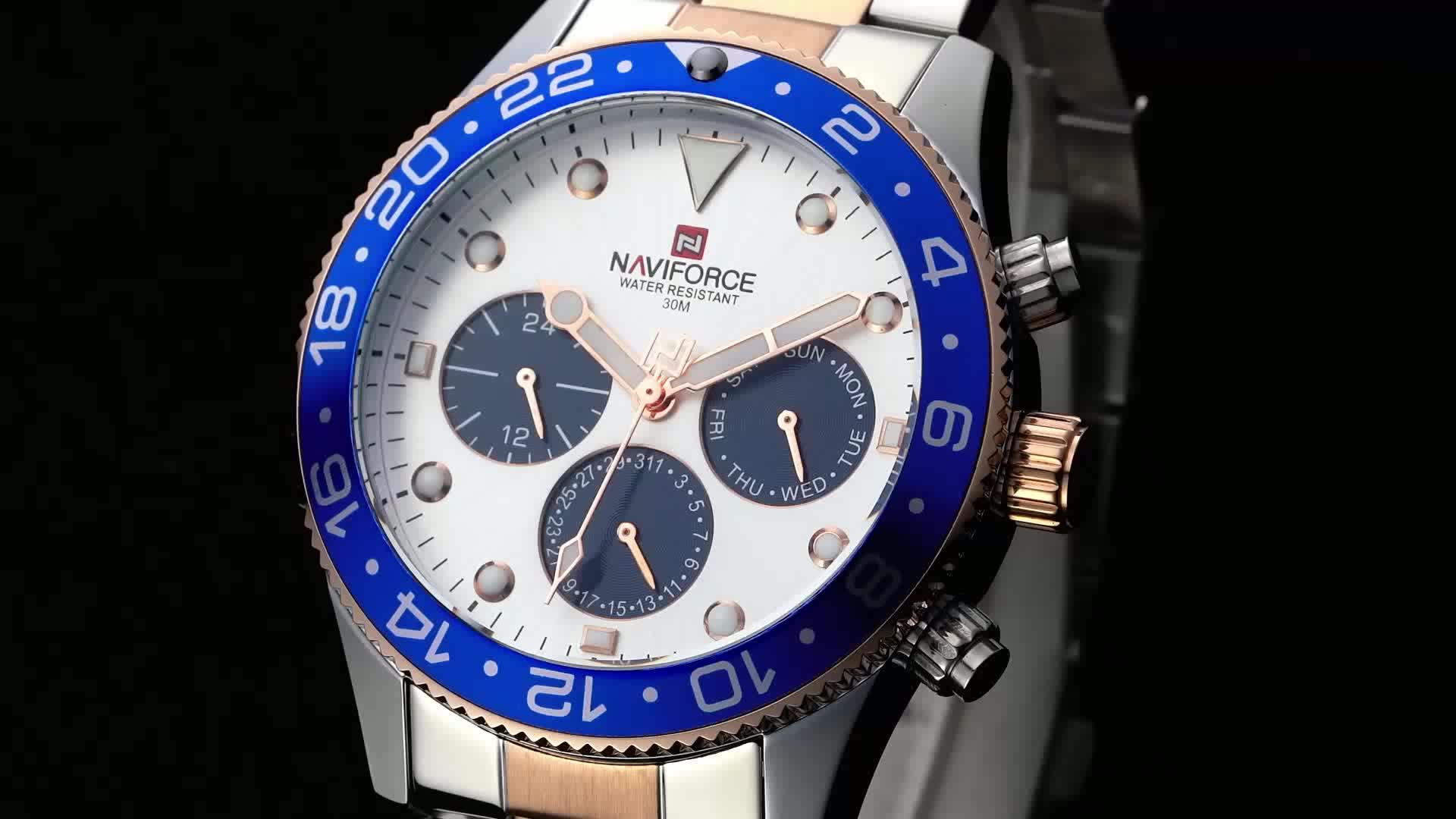 Naviforce 9147 new Luxury Brand Men relogio masculino Casual Quartz 24 Hours Date Sport stainless steel chain wrist watch