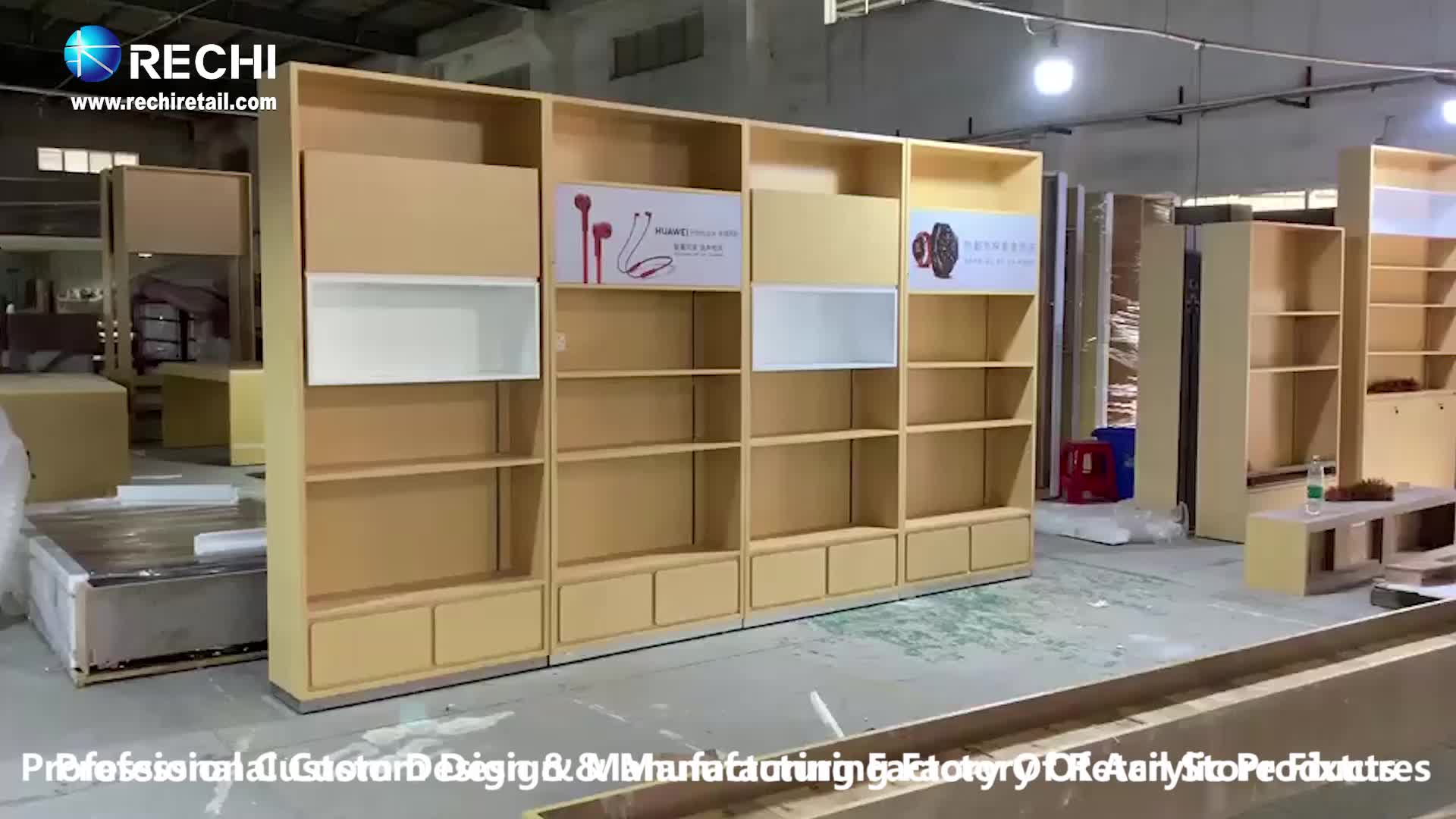 RECHI Custom Design Cell Phone Accessory Wall  Display Showcase With Shelf and Fabric Light Box for Smart Home Devices Display